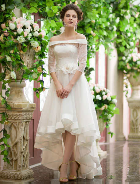 Milanoo Vestidos de novia linea A 2020 alto bajo fuera del hombro Vestido de novia Organza mitad manga vestido de novia de la flor