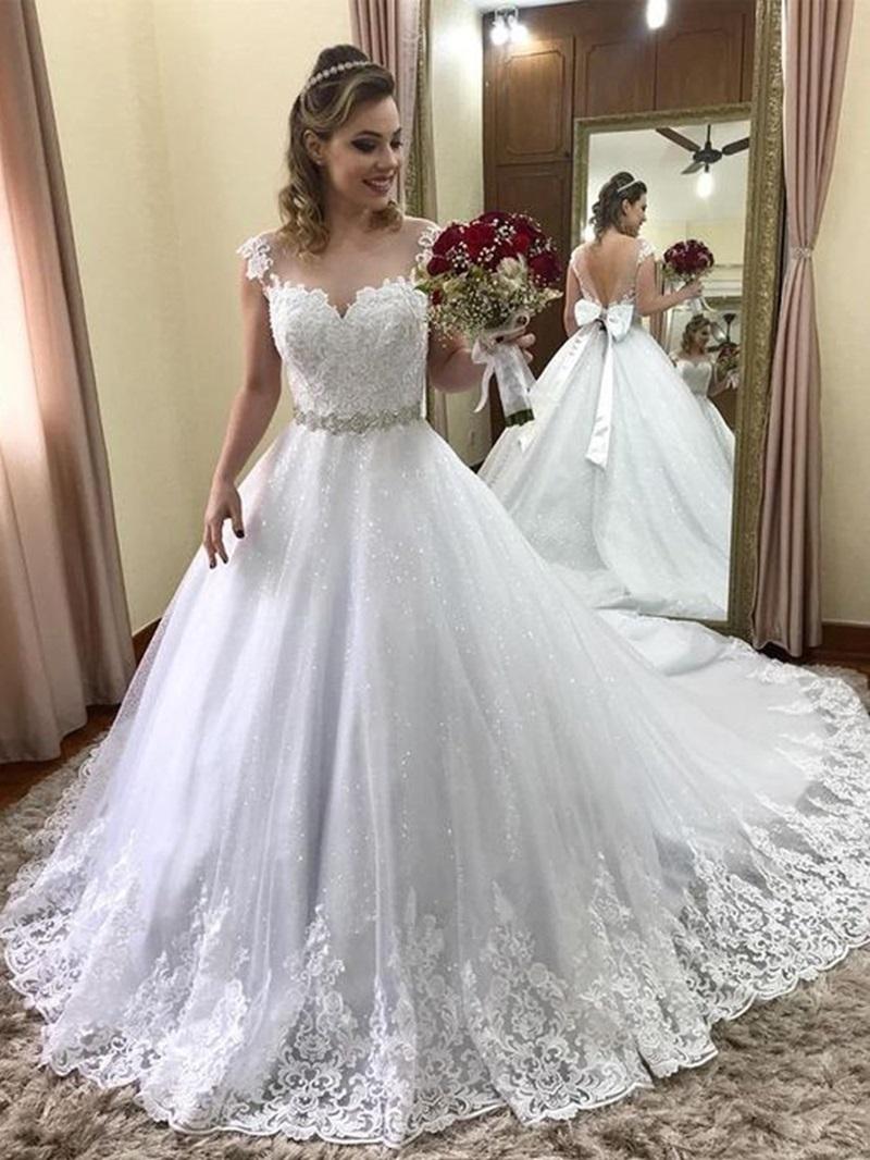 Ericdress Cap Sleeves Bowknot Lace Wedding Dress