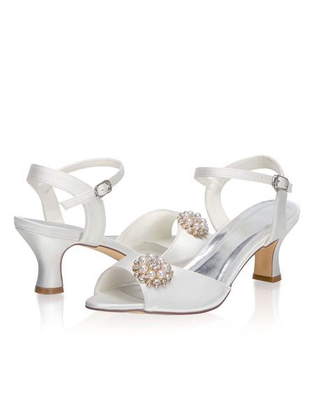 Milanoo Zapatos de novia de saten 6cm Zapatos de Fiesta Zapatos Marfil de tacon de kitten Zapatos de boda de puntera abierta con perlas