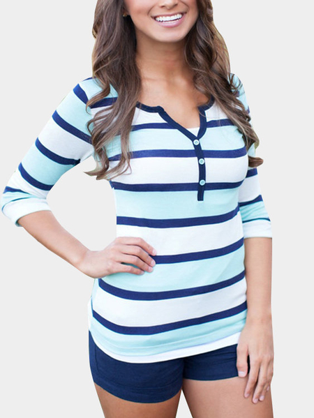 Yoins Button Design Stripe Causal Shirt