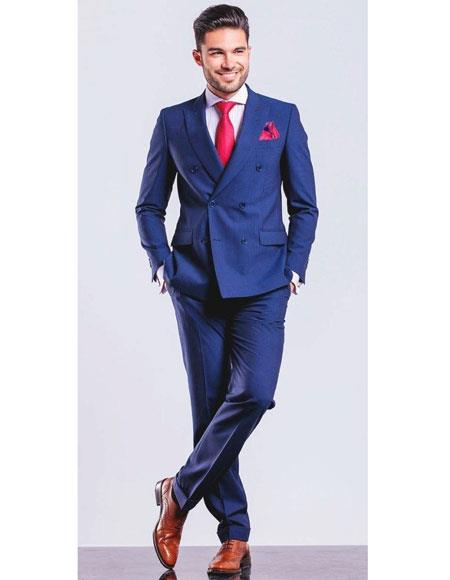 Mens Royal ~ Indigo ~ Cobalt New Blue Double Breasted Suit