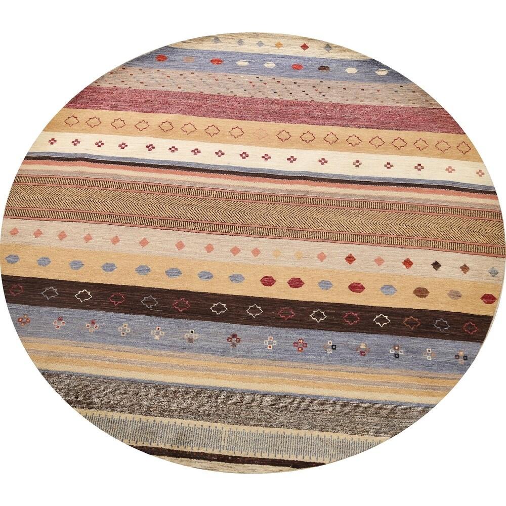 Striped Gabbeh Kashkoli Oriental Home Decor Area Rug Wool Hand-knotted - 8'1