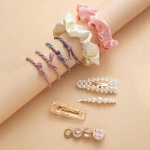 10 piezas accesorio de pelo con perla artificial