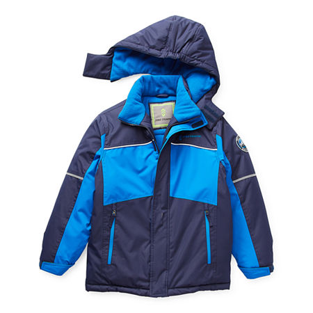 Free Country Little & Big Boys Knit Hooded Water Resistant Heavyweight Parka, Small (8) , Blue