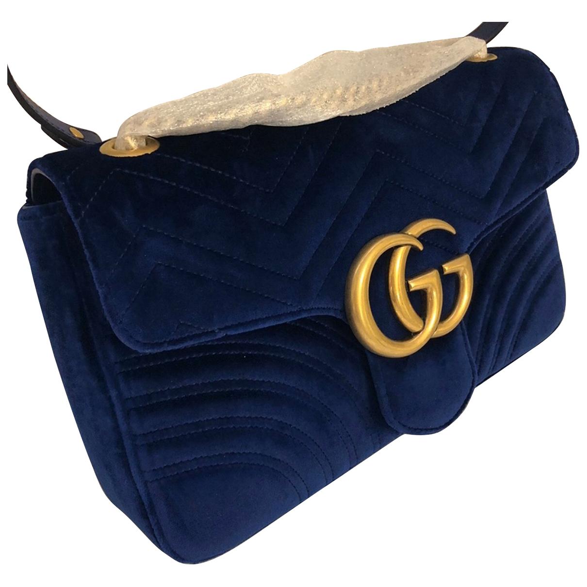 Gucci Marmont Blue Velvet handbag for Women \N
