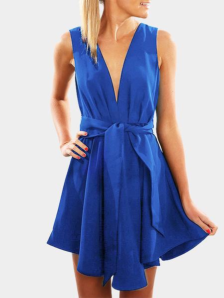 Yoins Blue Deep V-neck Backless Mini Dress with Self-tie Design