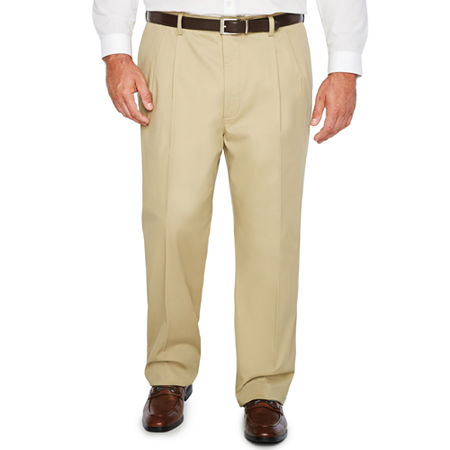 The Foundry Big & Tall Supply Co. - Big and Tall Regular Fit Pleated Pant, 44 32, Brown