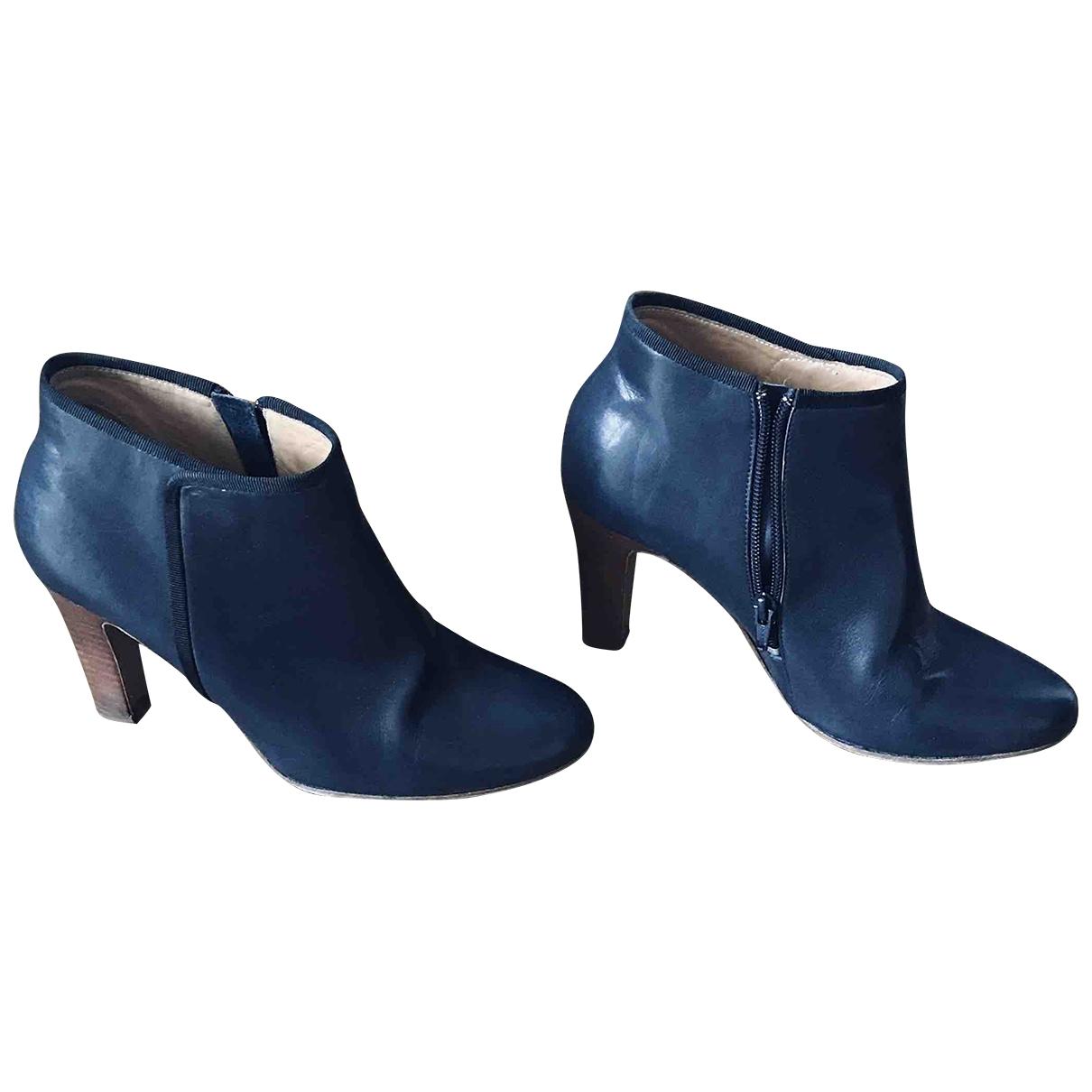 Sezane - Boots   pour femme en cuir - bleu