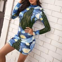 Vestido ajustado con estampado de pintura