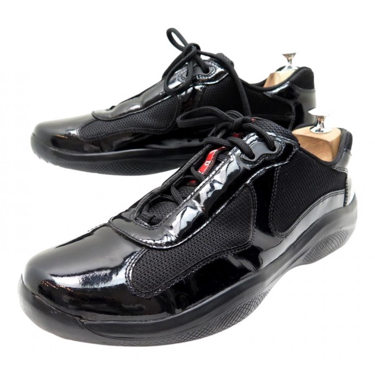 Prada N Black Patent leather Trainers for Men 44 EU
