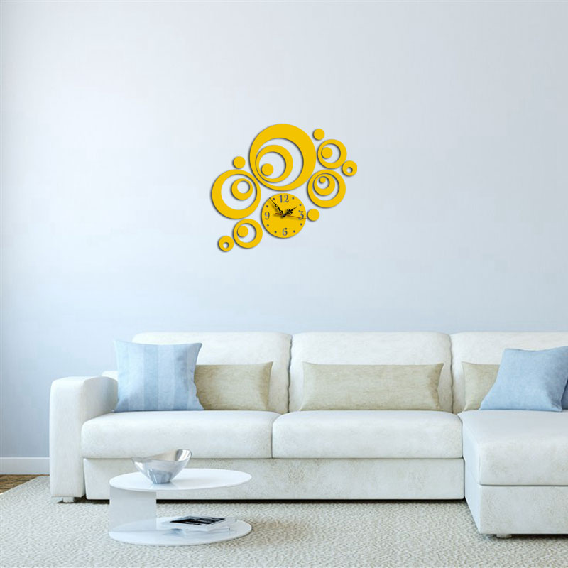 3 Color Creative Curly Shape Simple Design 3D Acrylic Specular Mute Wall Clock