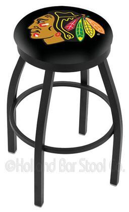 L8B2B25ChiHwk-B 25 L8B2B - Black Wrinkle Chicago Blackhawks Swivel Bar Stool with Accent