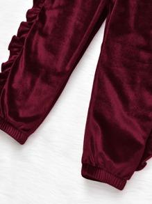 Toddler Girls Frill Trim Velvet Sweatshirt With Joggers