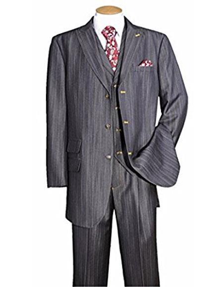Mens Black Pinstripe Peak Vested 3 Piece suit pants look Ticket Pocket