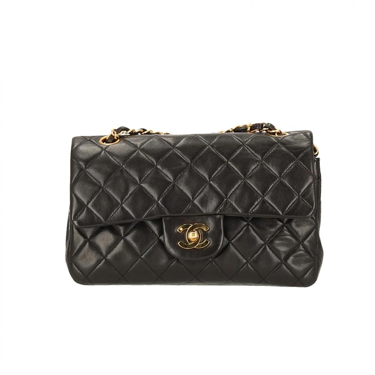 Chanel - Sac a main Timeless/Classique pour femme en cuir - noir