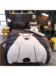 Cartoon Smiling White Bear Printing Flannel 4-Piece Soft Bedding Sets/Duvet Cover