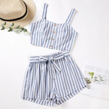Vertical Striped Cami Top & Belted Shorts