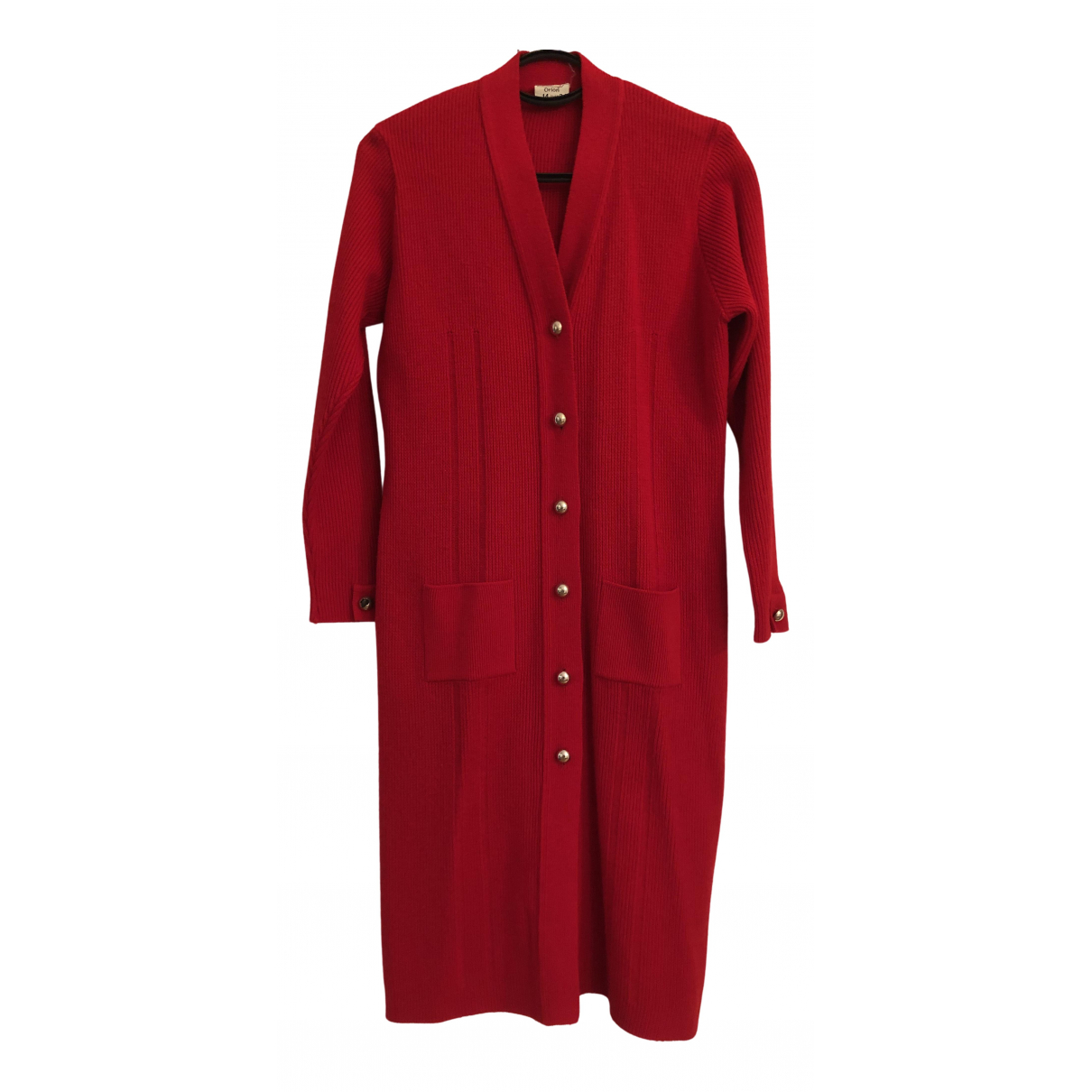 Non Signé / Unsigned N Red Wool Knitwear for Women 14 UK