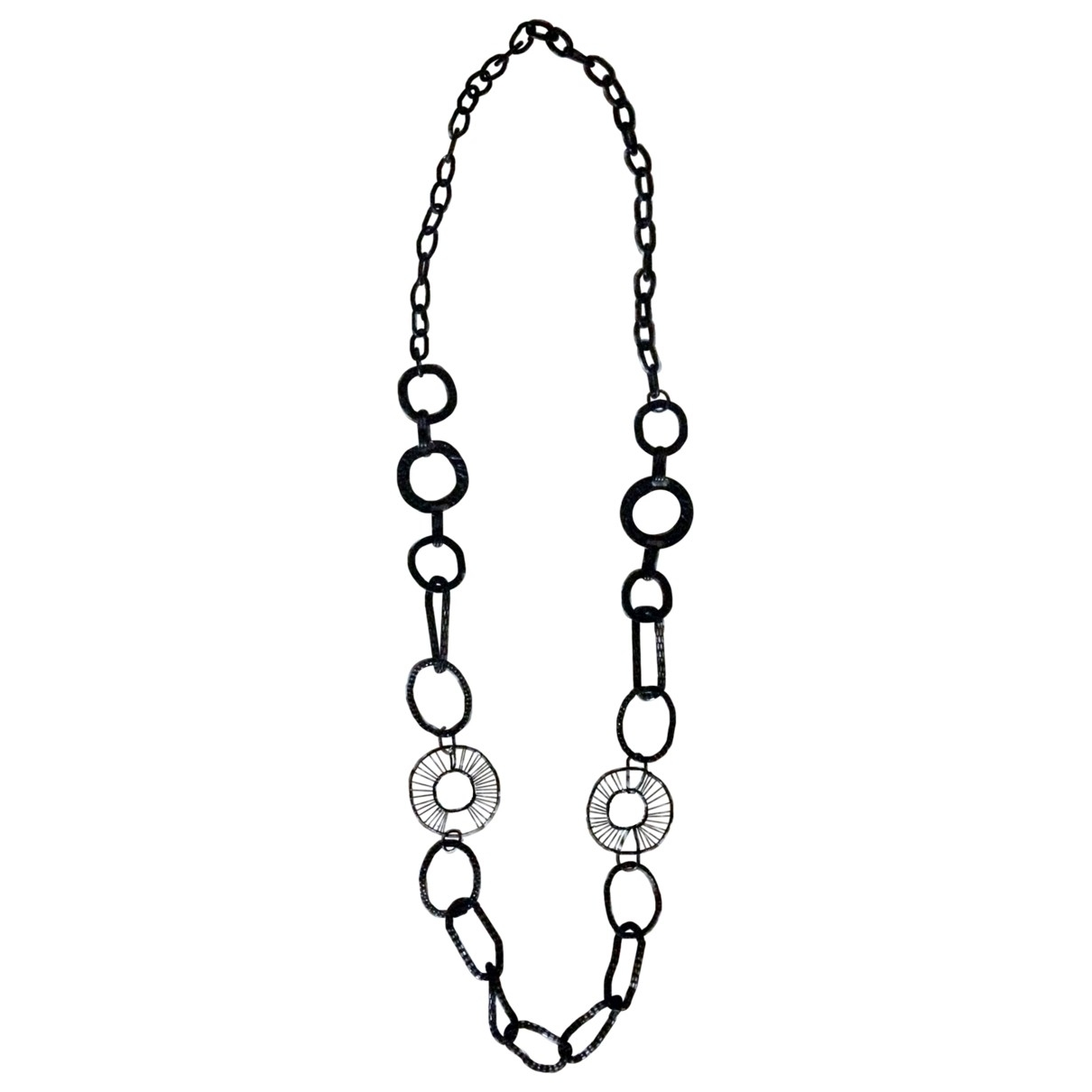 Non Signe / Unsigned \N Halskette in  Schwarz Metall