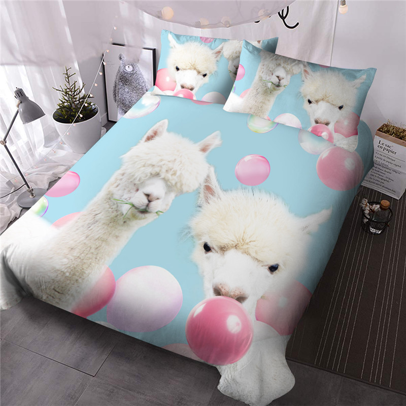 Sheep and Pink Bubbles for Kids Girls Cartoon Animal  Hand Wash Comforter Set Three-Piece Set Reactive Printing Polyester Bedding Sets Available in Va