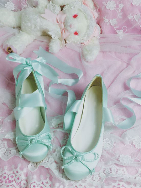 Milanoo Sweet Lolita Ballet Shoes Bow Strappy Tie Lolita Pumps