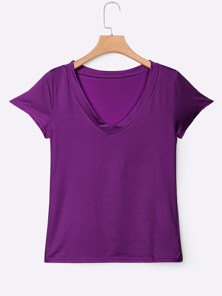 Yoins Purple Low Cut V-neck T-shirts