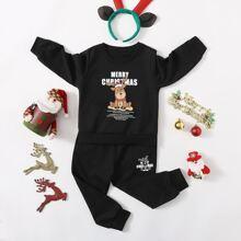 Outfits dos piezas para niño pequeño Bolsillo Navideño Casual