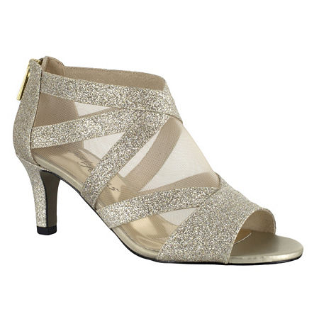 Easy Street Womens Dazzle Zip Open Toe Spike Pumps Heel, 8 1/2 Wide, Yellow