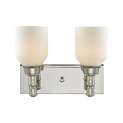 32271/2 Baxter 2 Light Vanity in Polished Nickel with Opal White