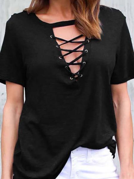 Yoins Black T-shirt With Lace Up Details
