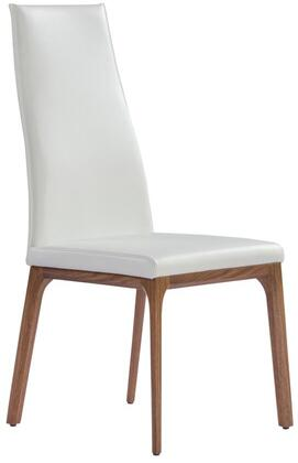 Ricky Collection DC1305P-WLT-WHT Dining Chair with Tall Backrest  Wood Veneer Material  Solid Wood Construction  Tapered Legs and Faux Leather