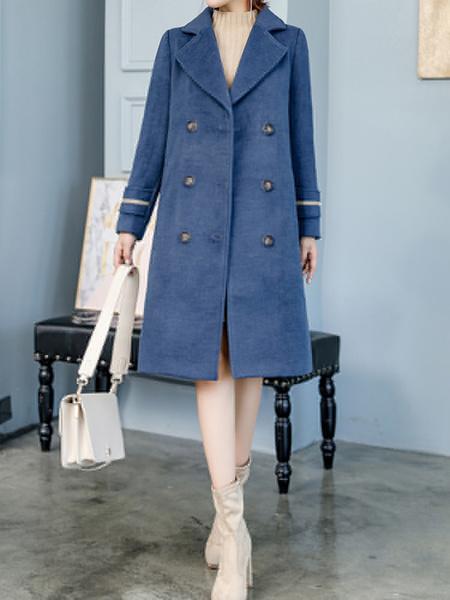 Milanoo abrigo mujer azul oscuro de cuello vuelto lana de tejido llano Color liso con manga larga con botones Traje cruzado con seis botones estilo mo