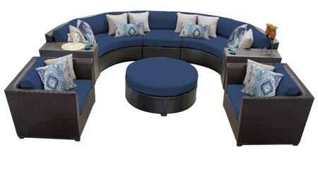 Barbados BARBADOS-08e-NAVY 8-Piece Wicker Patio Set 08e with 3PC Curved Sectional  1 Ottoman  2 Club Chairs and 2 Cup Tables - Wheat and Navy