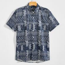 Men Allover Print Button Up Shirt