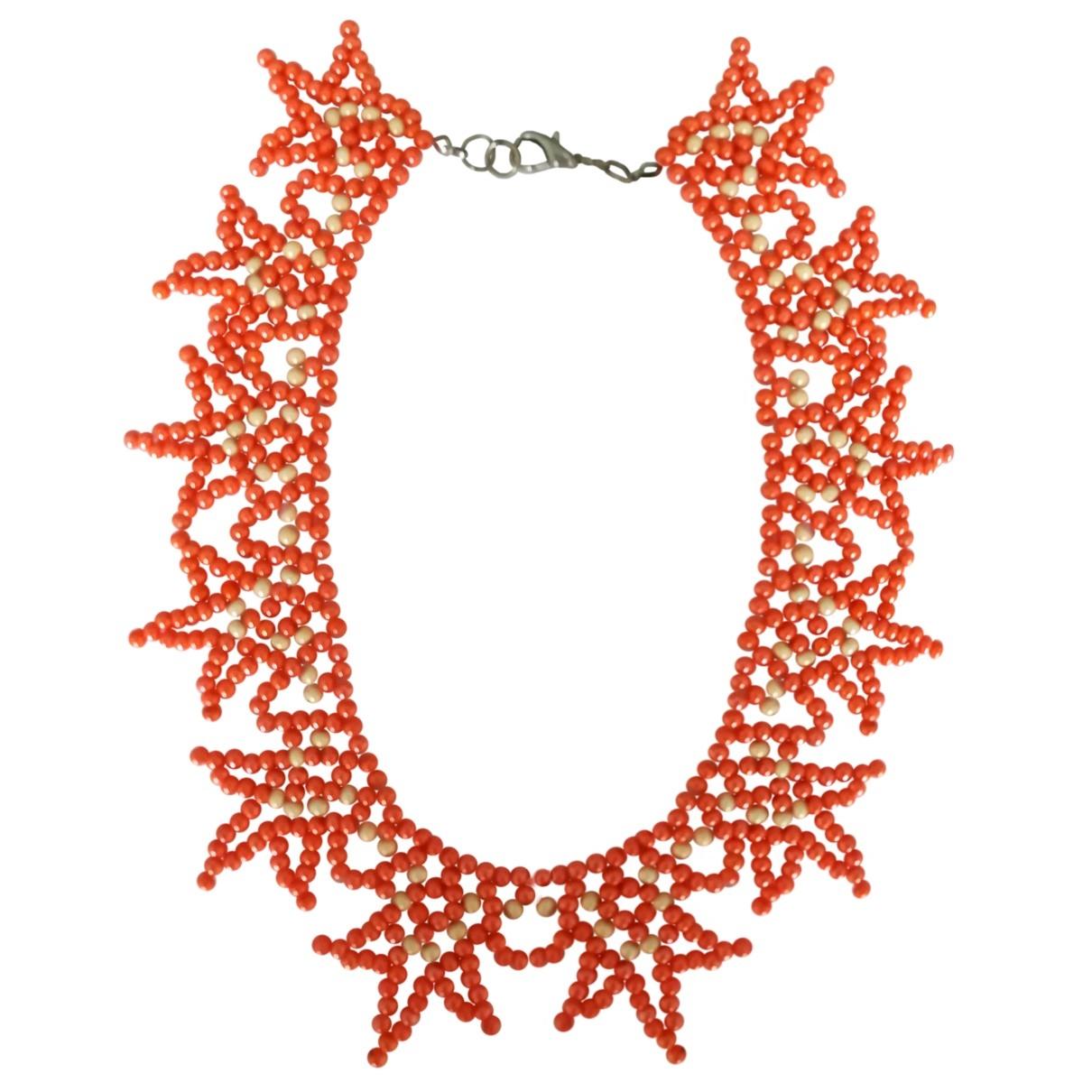 - Collier Corail pour femme en perles - orange
