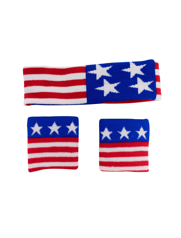 Kostuemzubehor Schweissband-Set USA