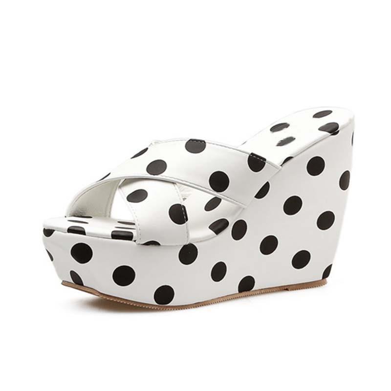 Ericdress Slip-On Print Wedge Heel Rubber Slippers