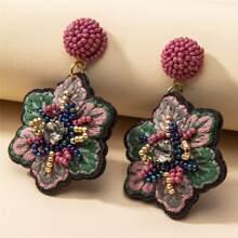 1pair Rhinestone Decor Beaded Flower Shaped Drop Earrings