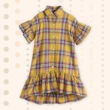 Girls Tartan Plaid Ruffle Hem Shirt Dress