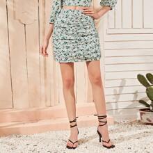 Ditsy Floral & Polka Dot Ruched Skirt