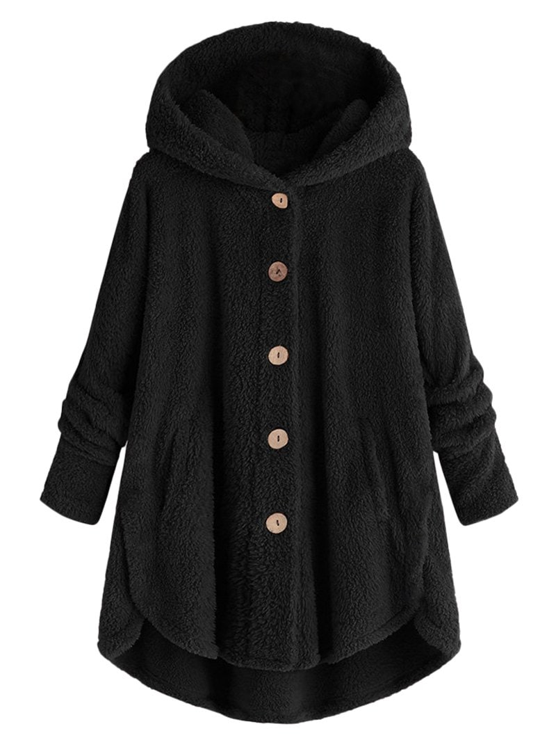Plus Size Hooded Fluffy High Low Teddy Coat