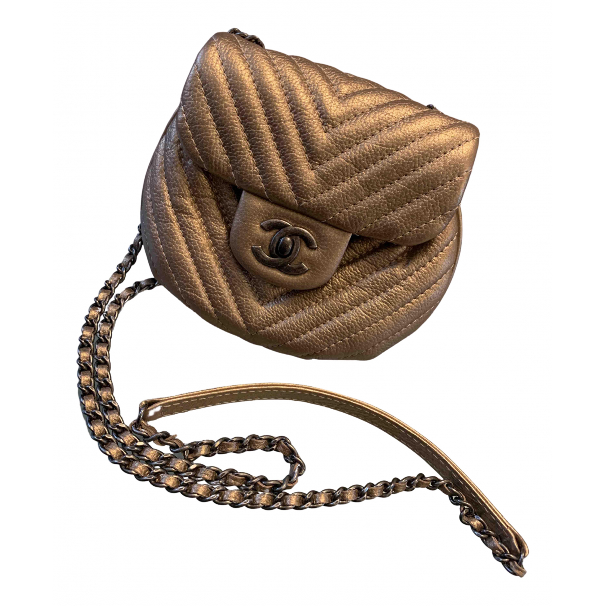 Chanel N Gold Leather handbag for Women N