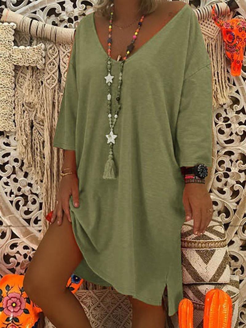 Ericdress Casual Plain Asymmetric Knee-Length V-Neck Simple Regular Dress