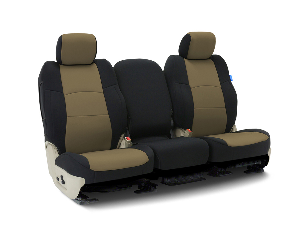 Coverking CSCF11FD9399 Custom Seat Covers 1 Row Neoprene Tan | Black Sides Front Ford F-150 2011-2012