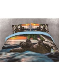Sloth Climbing Tree in the Sunset Printing 3D Cotton 4-Piece Bedding Sets/Duvet Covers