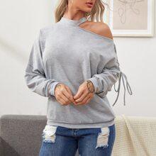 Sweatshirt mit Stehkragen, Ausschnitt, Ose, Band und Knoten