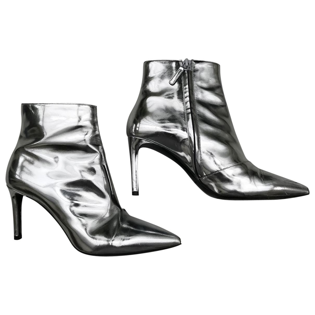Balenciaga Slash Silver Leather Ankle boots for Women 38 EU