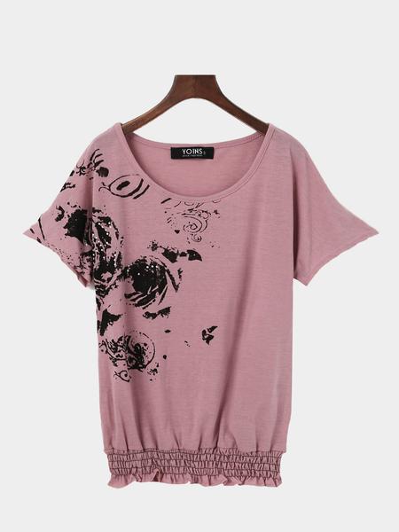 Yoins Sheer Printed Pattern T-shirt