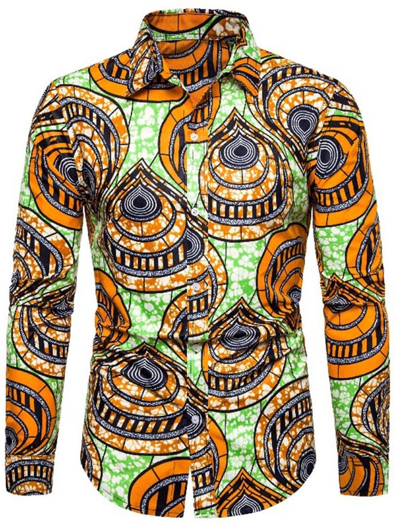 Ericdress Lapel Casual Color Block Single-Breasted Men's Shirt