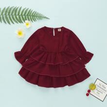 Baby Girl Flounce Sleeve Tiered Layer Dress